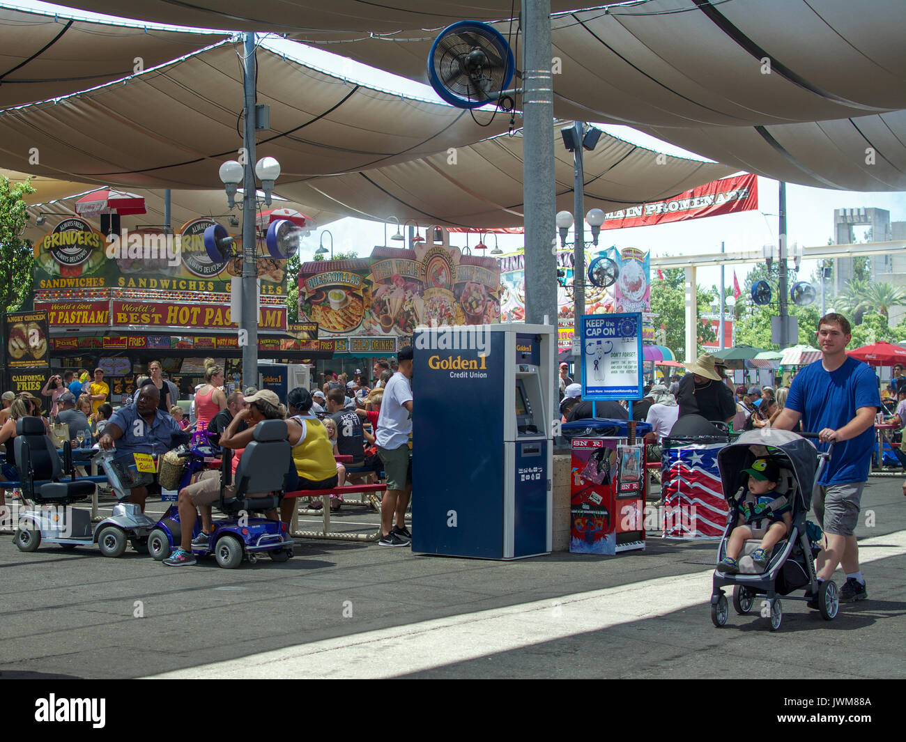 Sacramento, California, U.S.A. 23 July 2017.Golden 1 ATM at food court at the California State Fair at Cal Expo. The fair is annual and features Calif - Stock Image