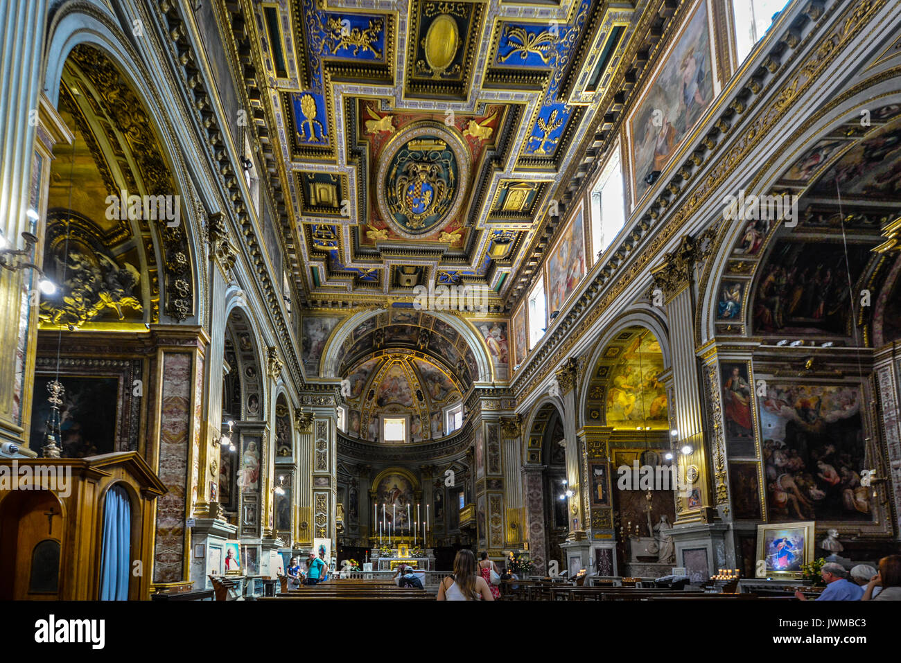 Interior of St Marcello al Corso church in Rome Italy - Stock Image