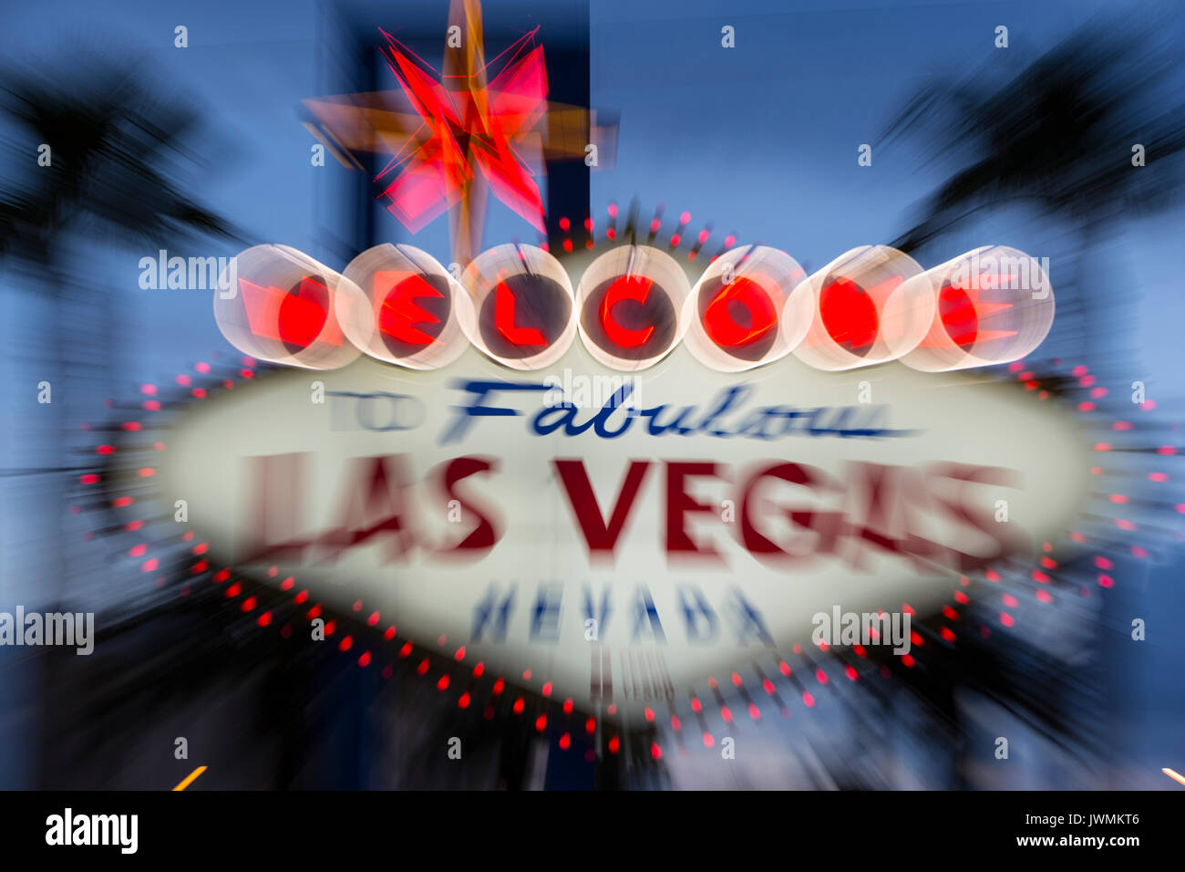 "The iconic ""Welcome to Fabulous Las Vegas"" neon sign greets visitors to Las Vegas traveling north on the Las Vegas Stock Photo"