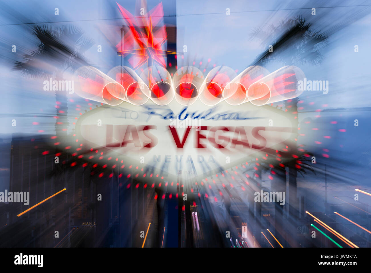 """The iconic """"Welcome to Fabulous Las Vegas"""" neon sign greets visitors to Las Vegas traveling north on the Las Vegas Stock Photo"""