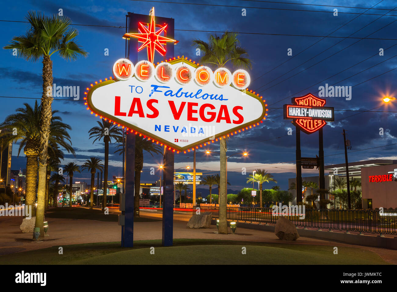 The iconic 'Welcome to Fabulous Las Vegas' neon sign greets visitors to Las Vegas traveling north on the Las Vegas strip. - Stock Image