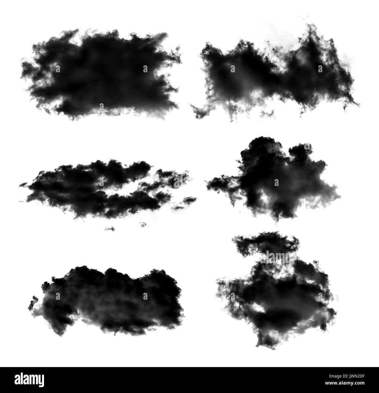 set of black clouds or smoke isolated on white background - Stock Image