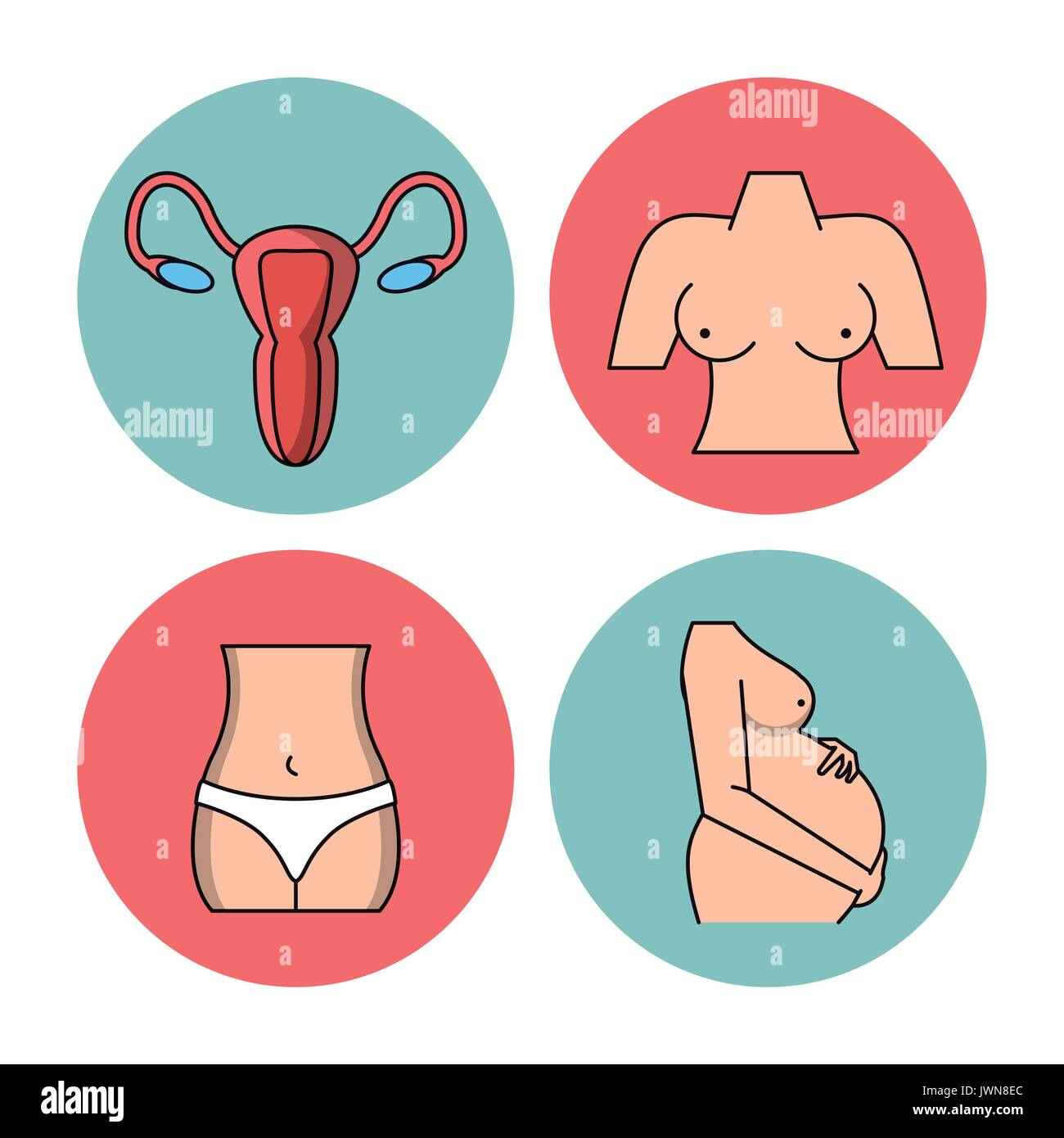 white background with circular frames of female body parts - Stock Image