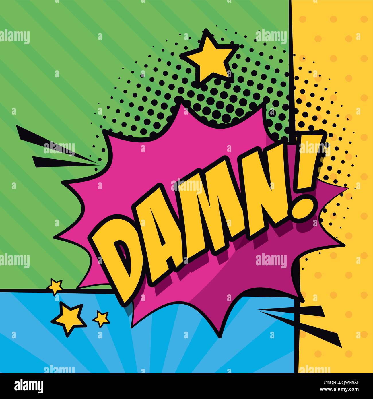 multicolor background pop art style with striped and callout for dialogue with damn text - Stock Image