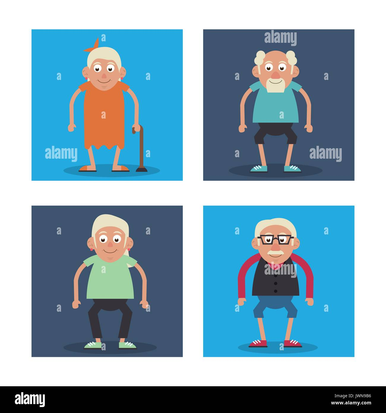 8c71e00a8a27 white background with colorful frames set of grandparents standing and  grandmother with walking stick