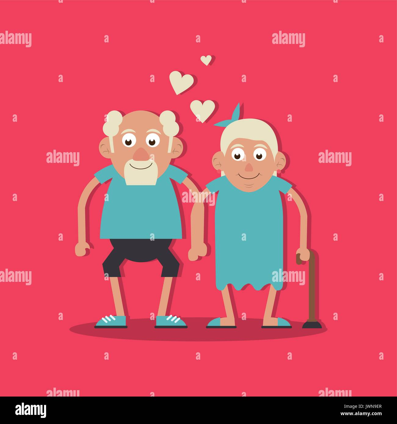 background magenta color with couple of grandparents in love and holding hands and her with walking stick - Stock Vector