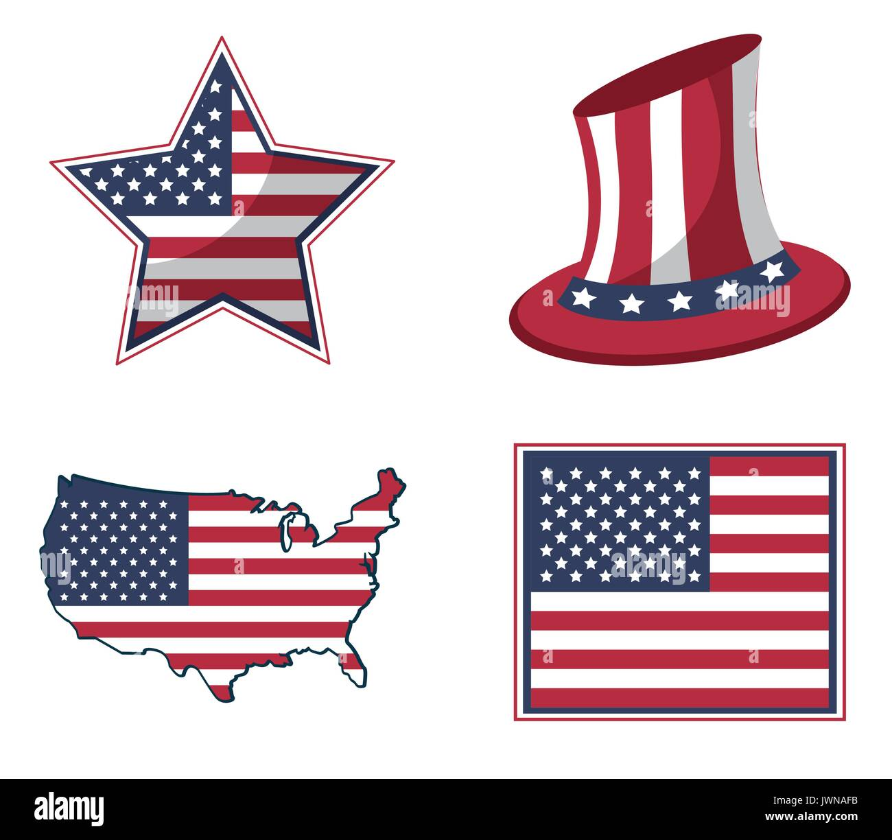 white background with united states flag in shape of star and hat and map Stock Vector