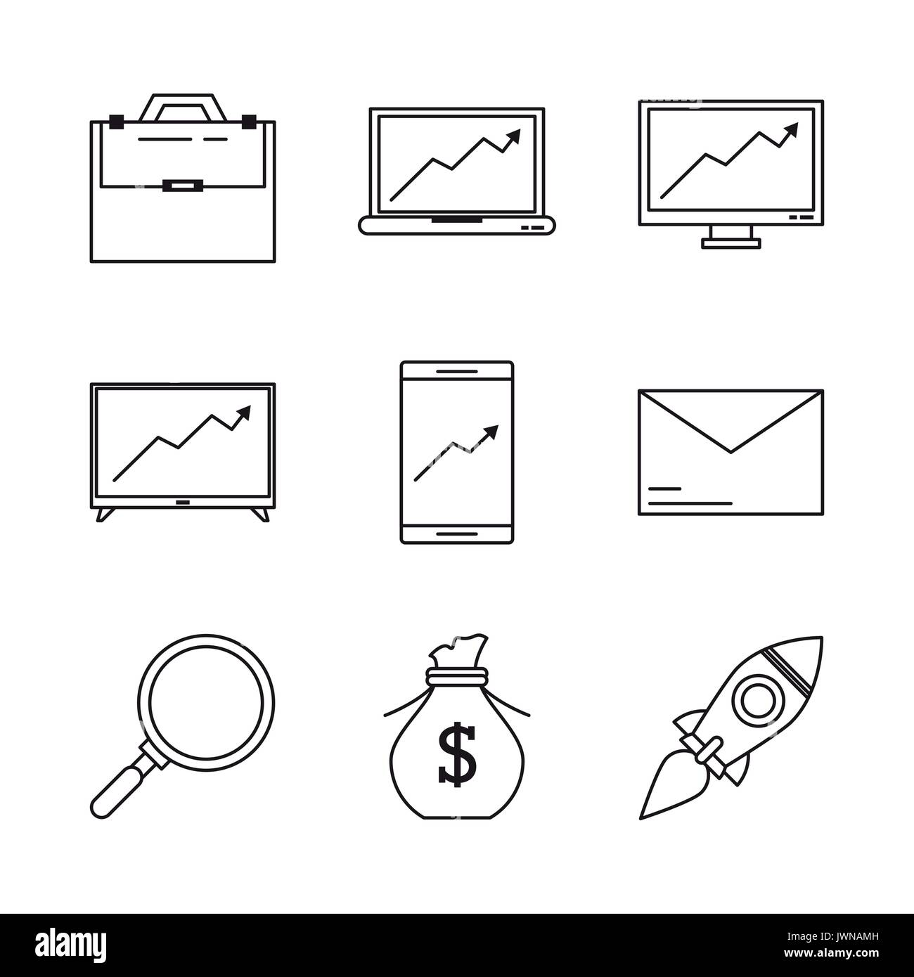 white background with monochrome icons related to crowd funding management - Stock Image