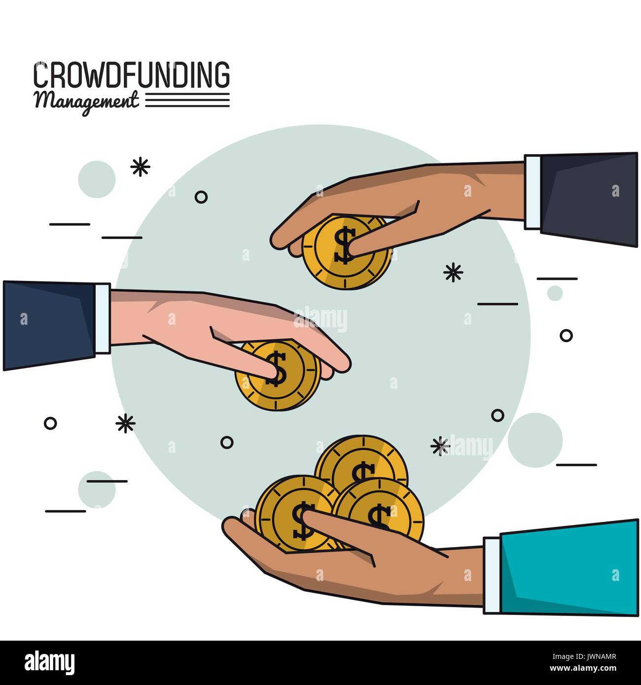 colorful poster of crowd funding management with hands with money - Stock Image