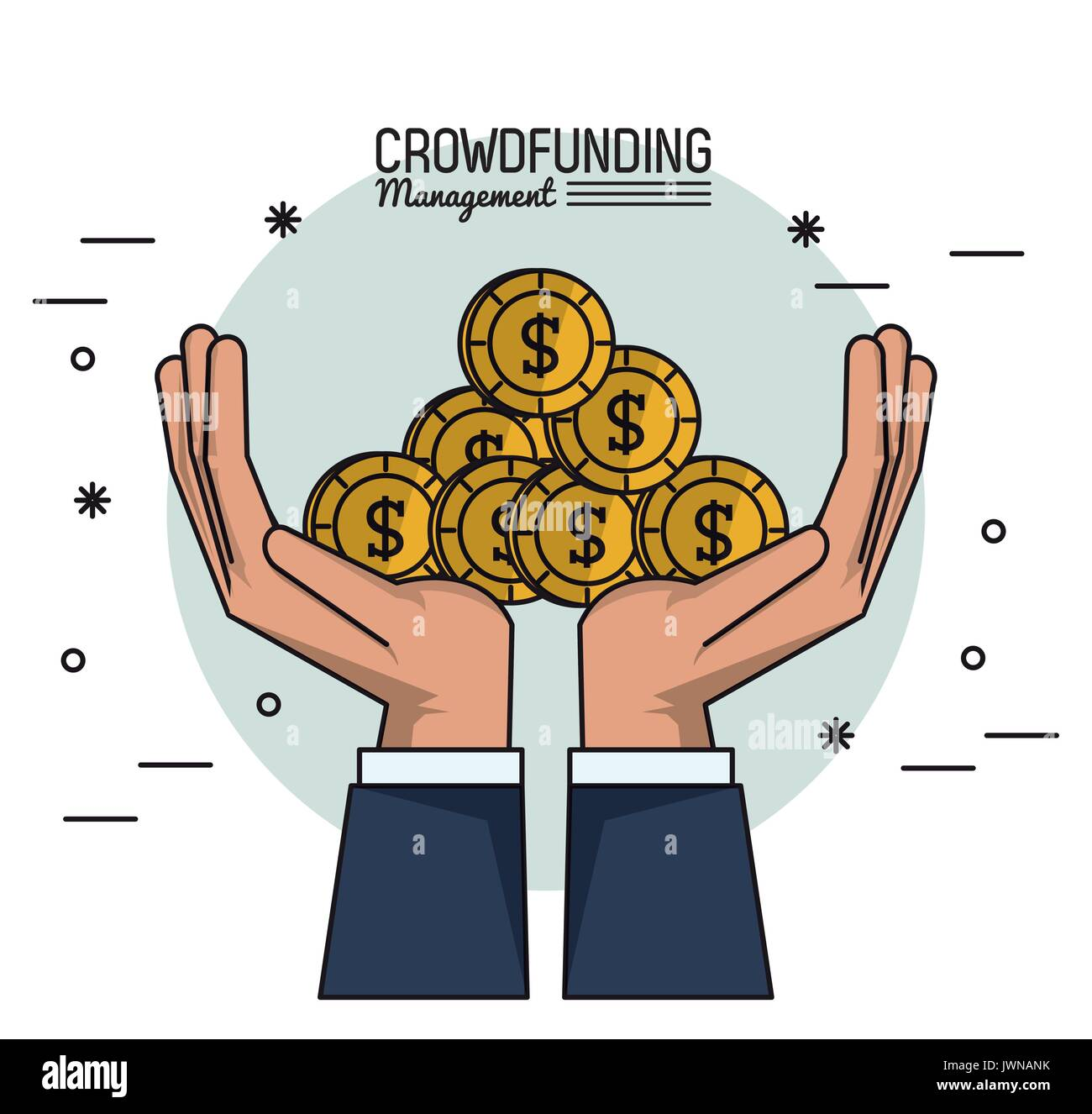 colorful poster of crowd funding management of hands with many coins - Stock Image