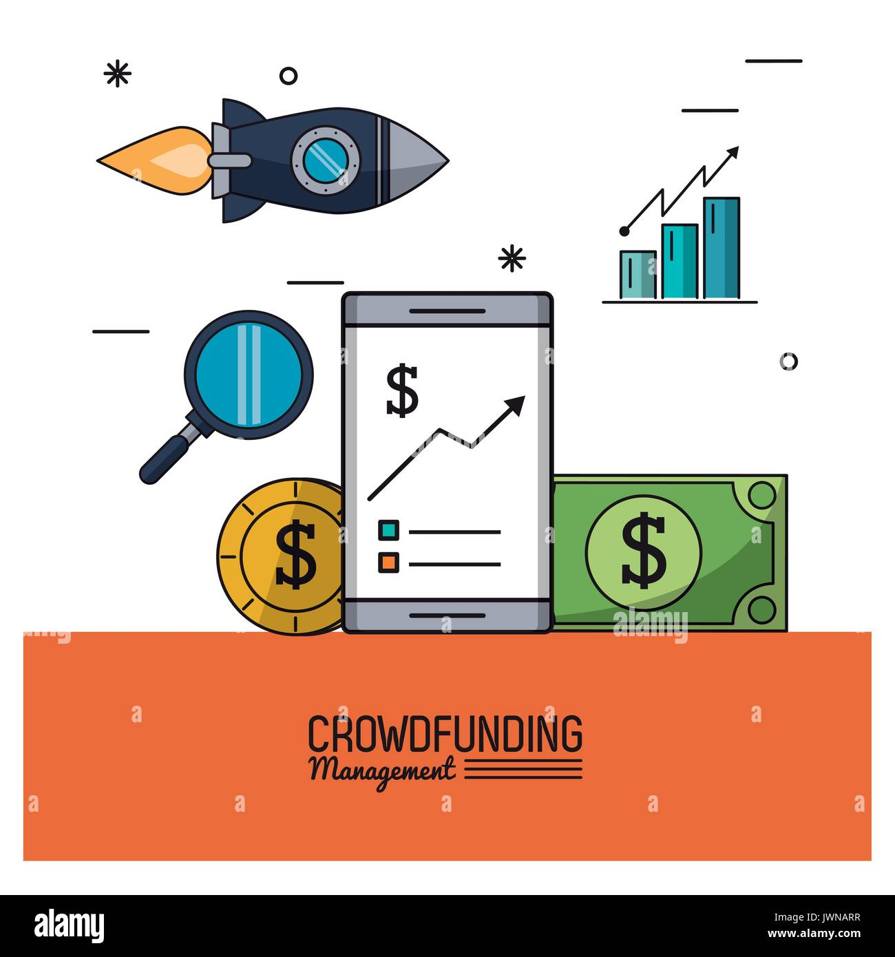 colorful poster of crowd funding management with smartphone and savings and bar graphs statistics - Stock Image