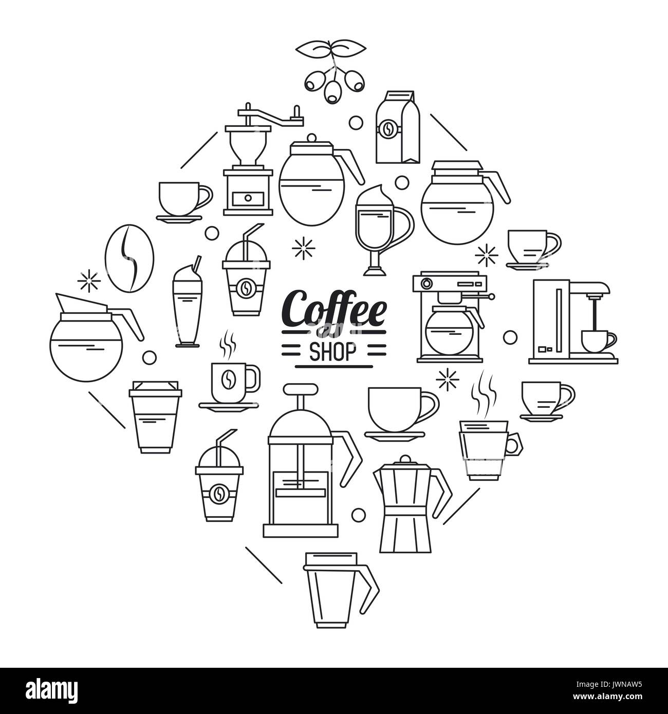 monochrome poster of coffee shop with several icons related to coffee - Stock Image