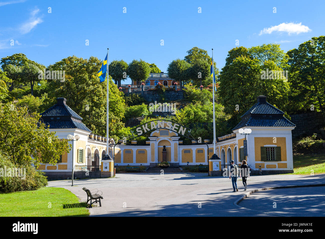 STOCKHOLM, SWEDEN - SEPTEMBER 17, 2016: Entrance to the ethnographic complex the open air museum Skansen, located on Djurgarden Island - Stock Image