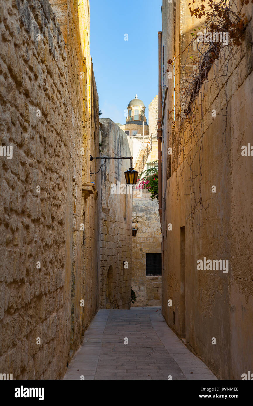 Streets of old town at sunny day. Narrow path in Mdina, Malta. Stock Photo
