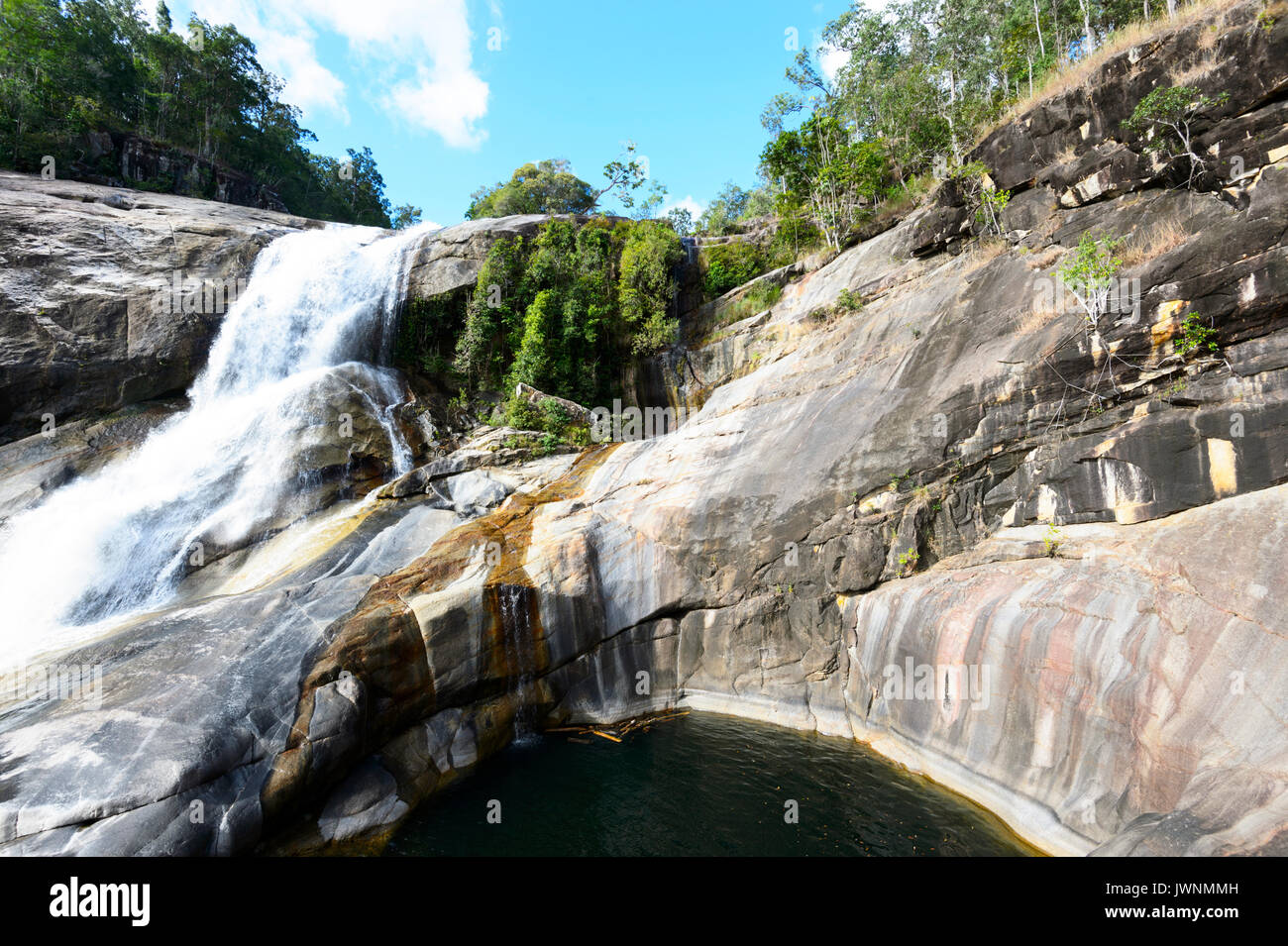 View of Unesco World Heritage listed Murray Falls, Girramay National Park, Far North Queensland, FNQ, QLD, Australia - Stock Image