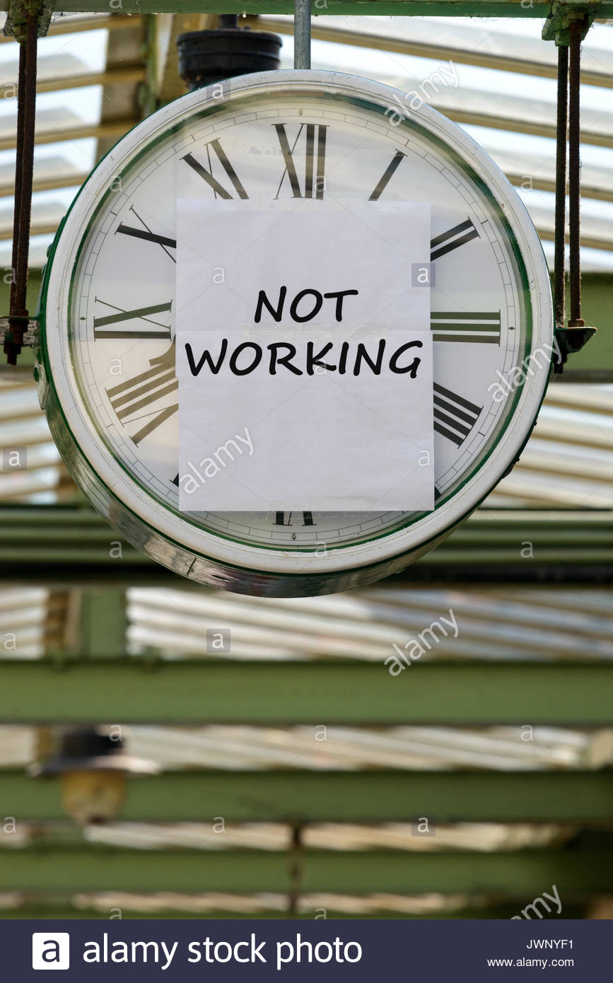 Not Working, written on clock, Swanage, Dorset, England, UK - Stock Image