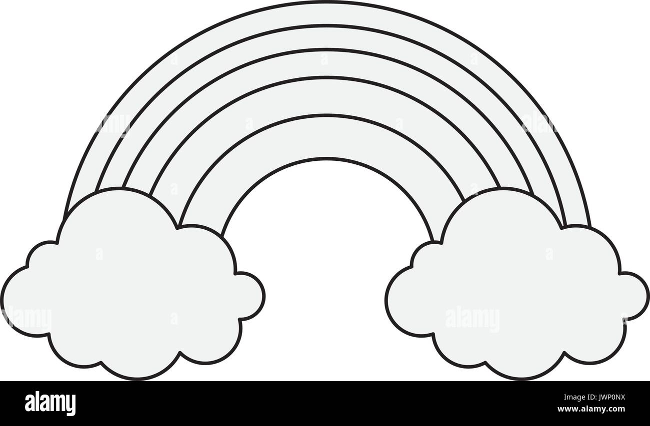 rainbow and clouds icon over white background vector illustration Stock Vector