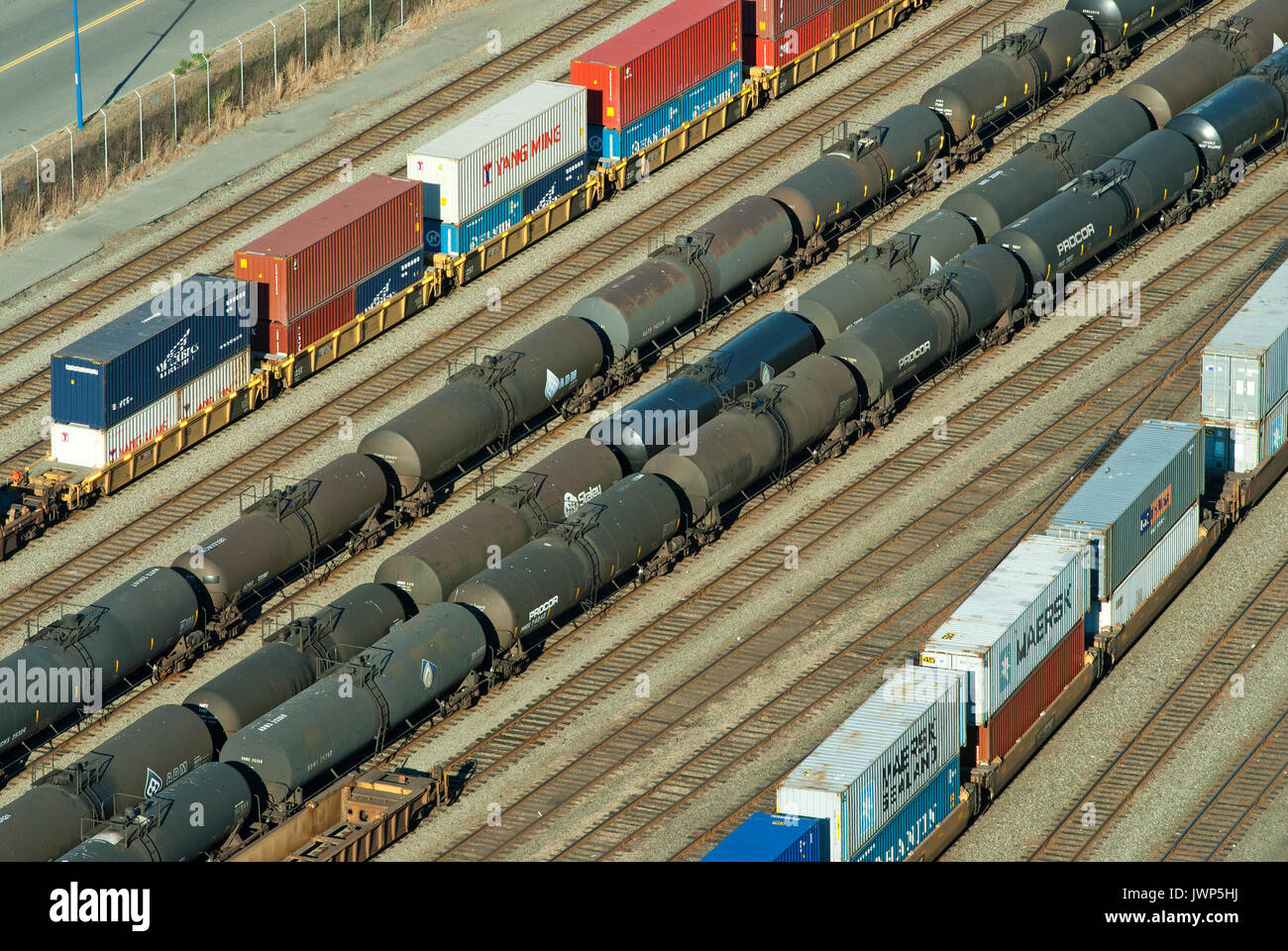 Freight wagons at the railway goods station of Vancouver, British Columbia, Canada - Stock Image