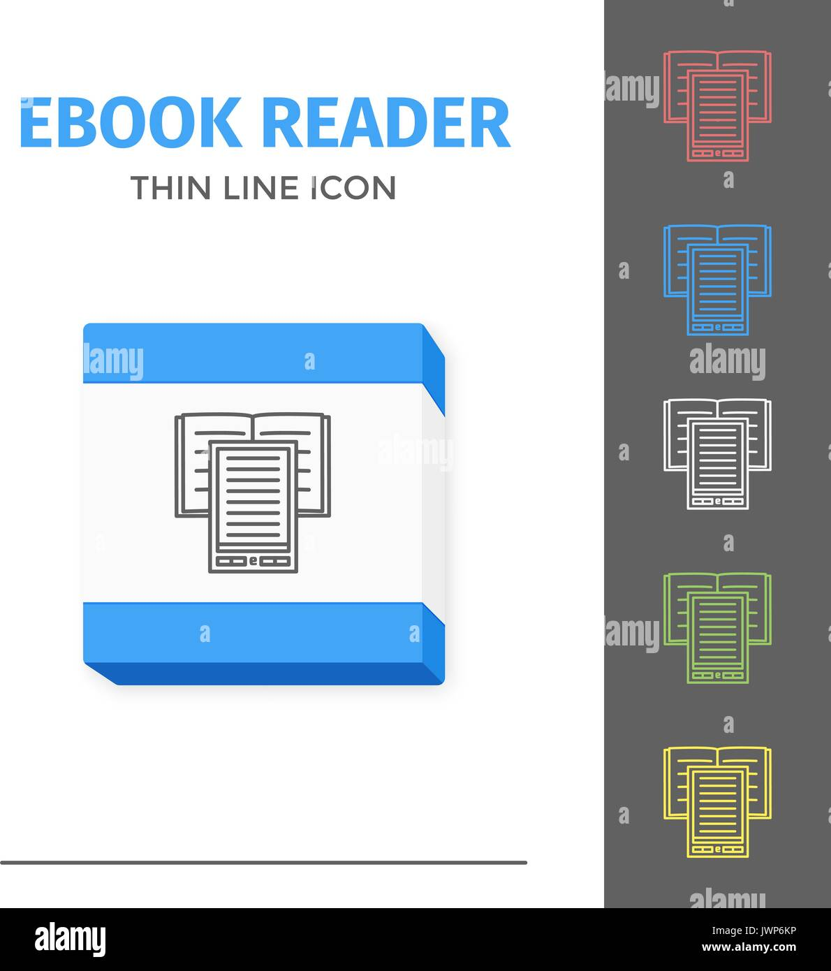 Illustration Of Thin Line Ebook Reader Vector Isolated