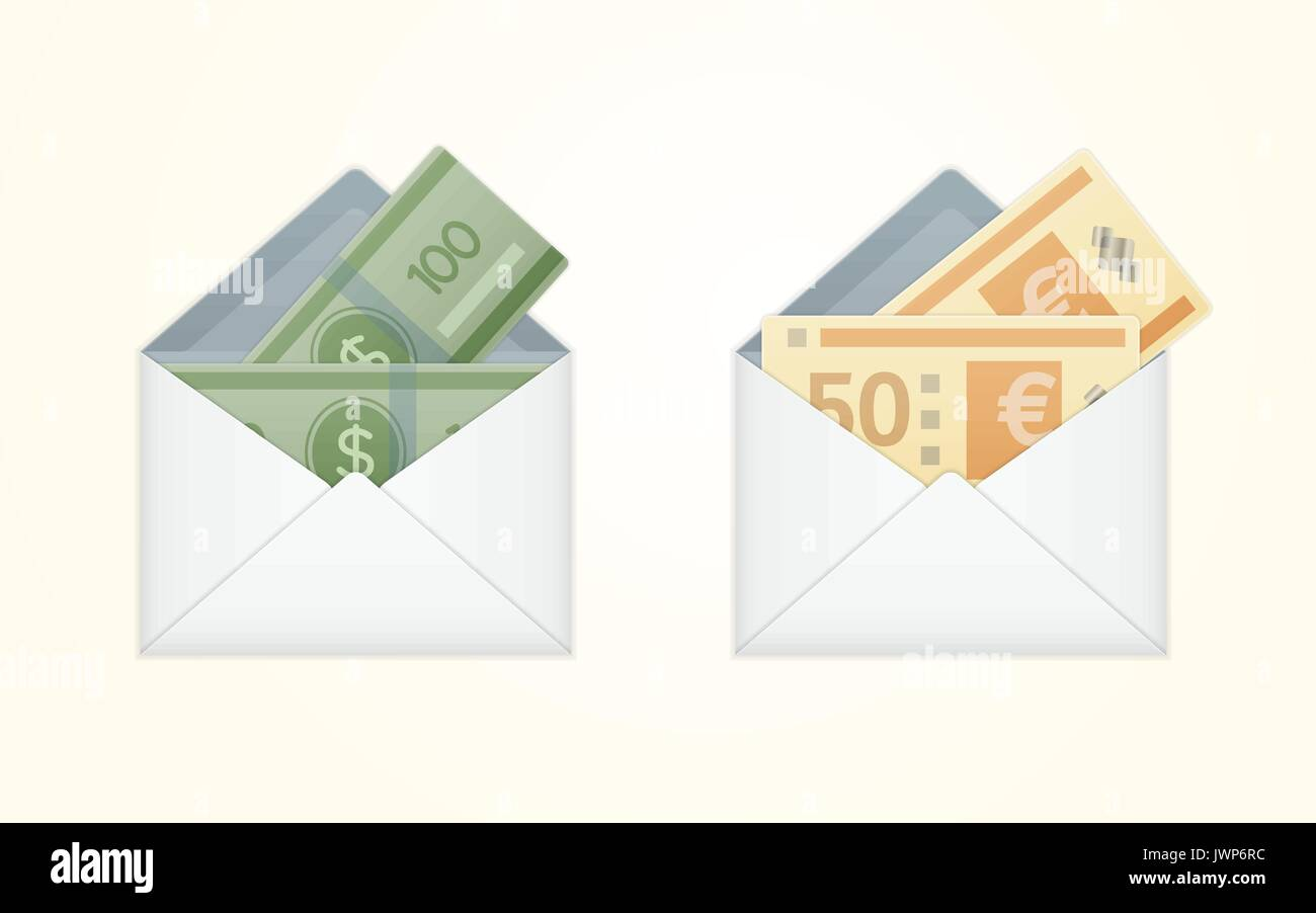 Vector isolated opened white envelope with cash - Stock Vector