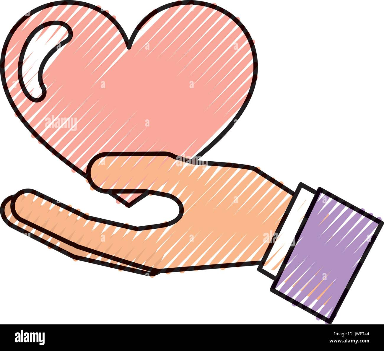 hand human with heart love - Stock Vector
