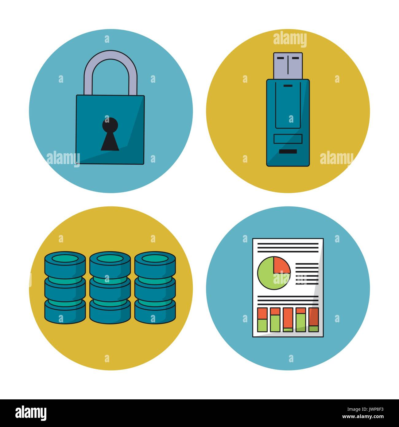 white background with colorful spheres with icons of secure data and disk information and usb memory - Stock Image
