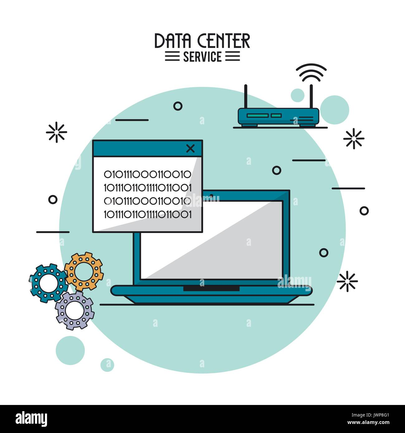 colorful poster of data center service with laptop computer with binary window and wireless router - Stock Image