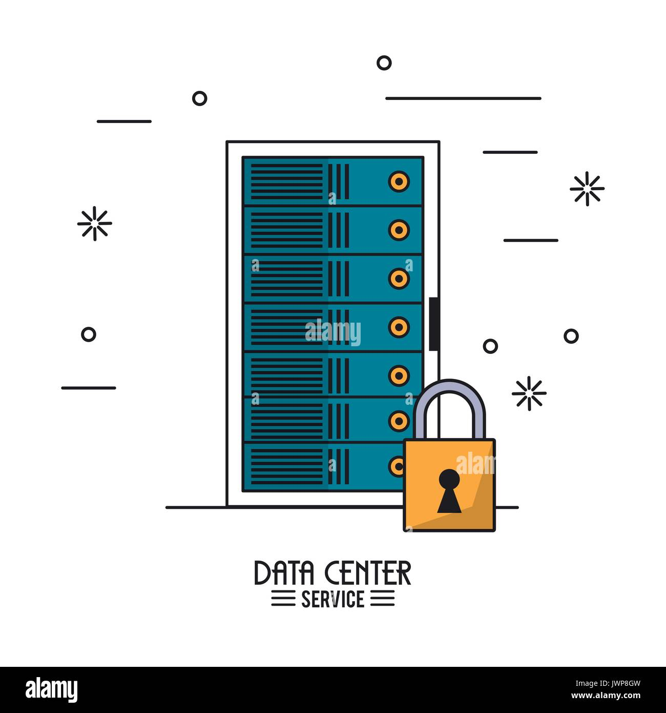 colorful poster of data center service with rack server secure - Stock Image