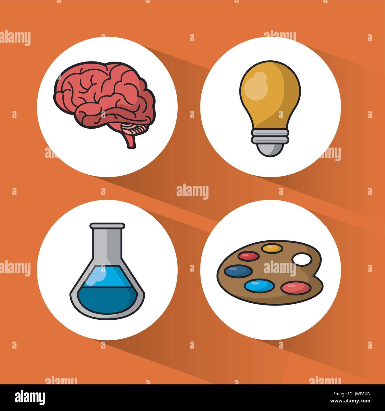 orange background with colorful spheres with icons of brain and light bulb and test tube and palette with paints - Stock Image