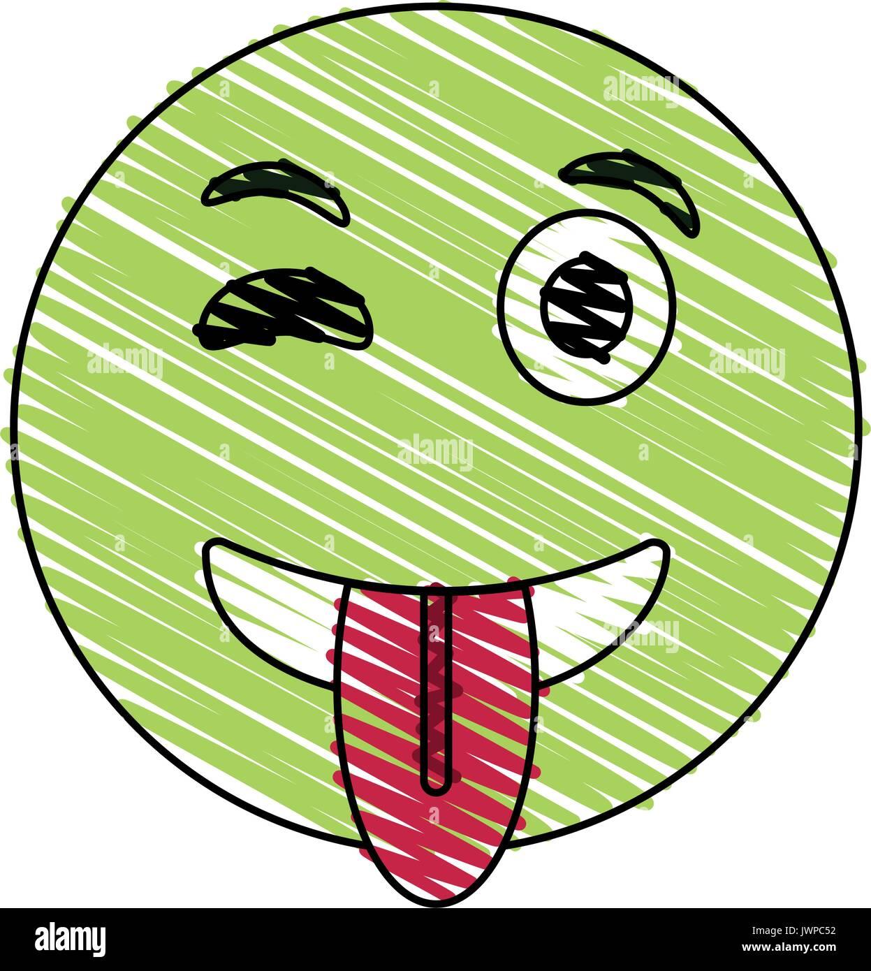 wink smile tongue out emoji icon image  - Stock Image