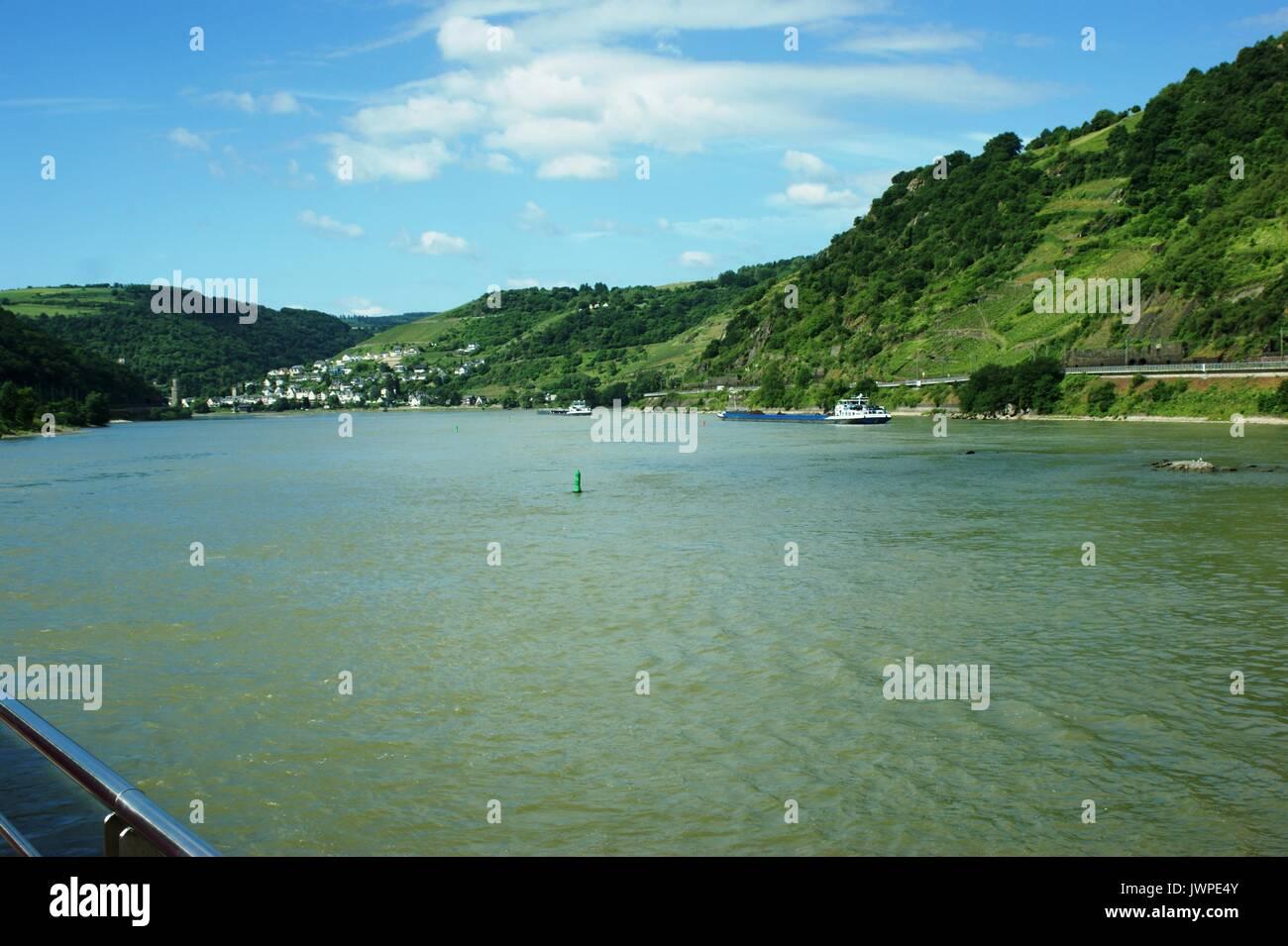 The River Rhine near the Loreley rocks, Germany Stock Photo