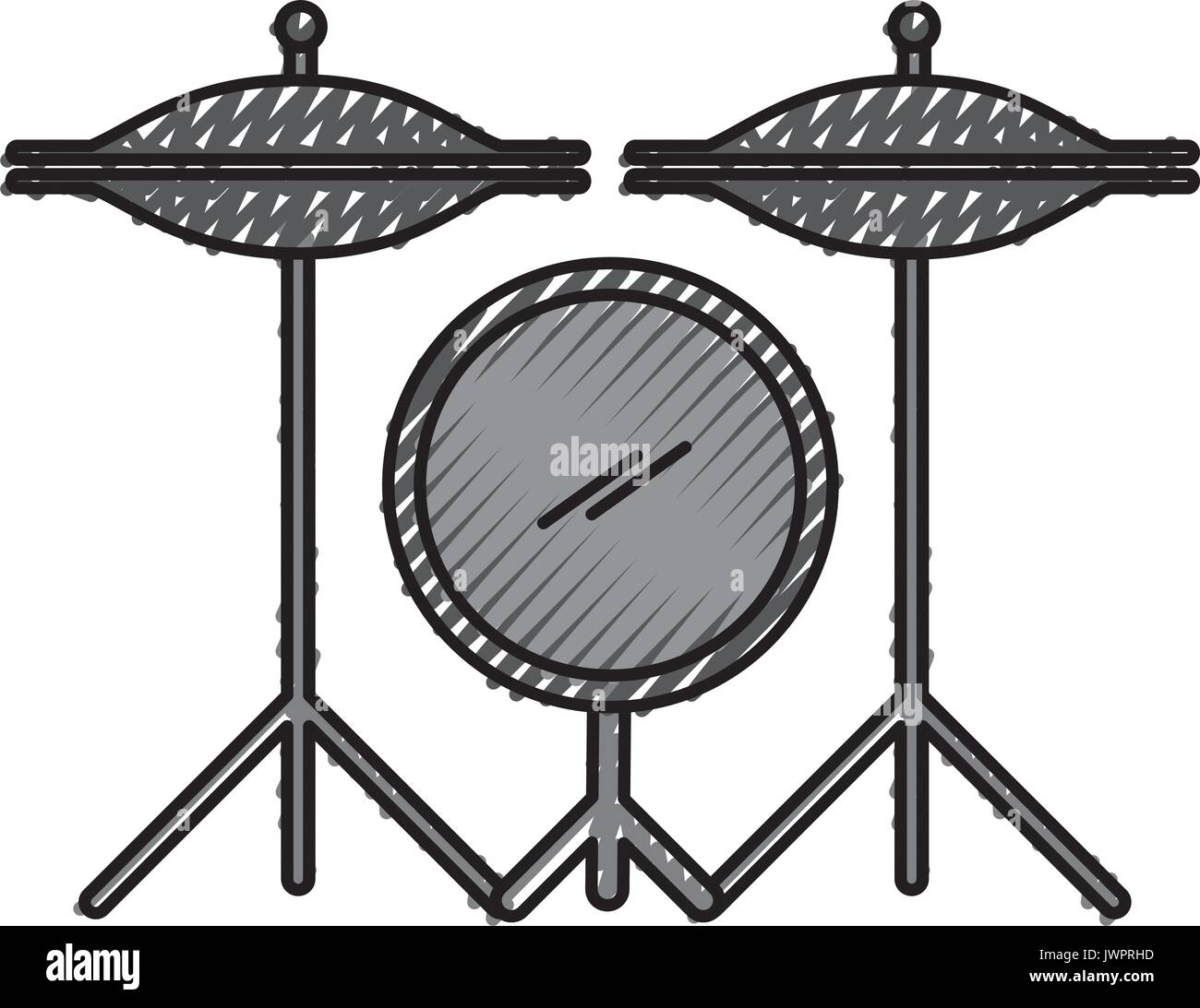 battery drums instrument icon - Stock Image