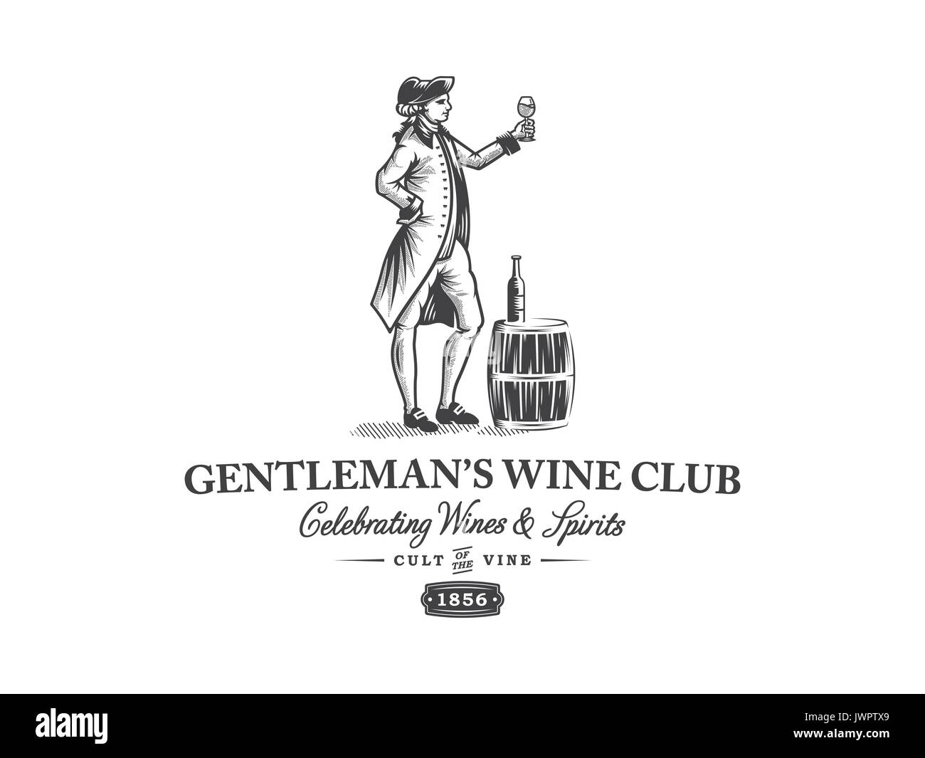 Black on white vector illustration of a gentleman with a wine glass - Stock Image