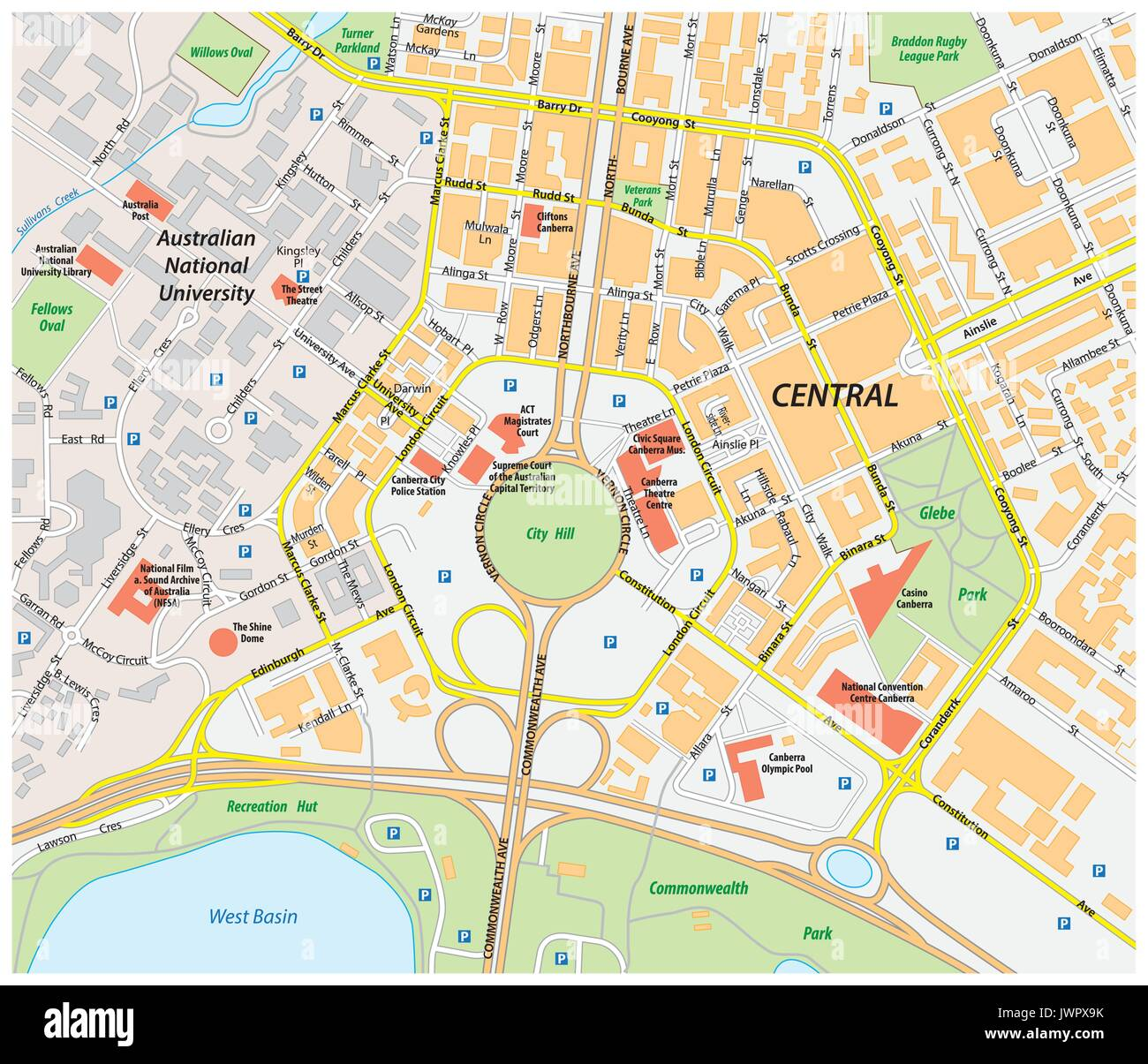 vector road map of central canberra australia