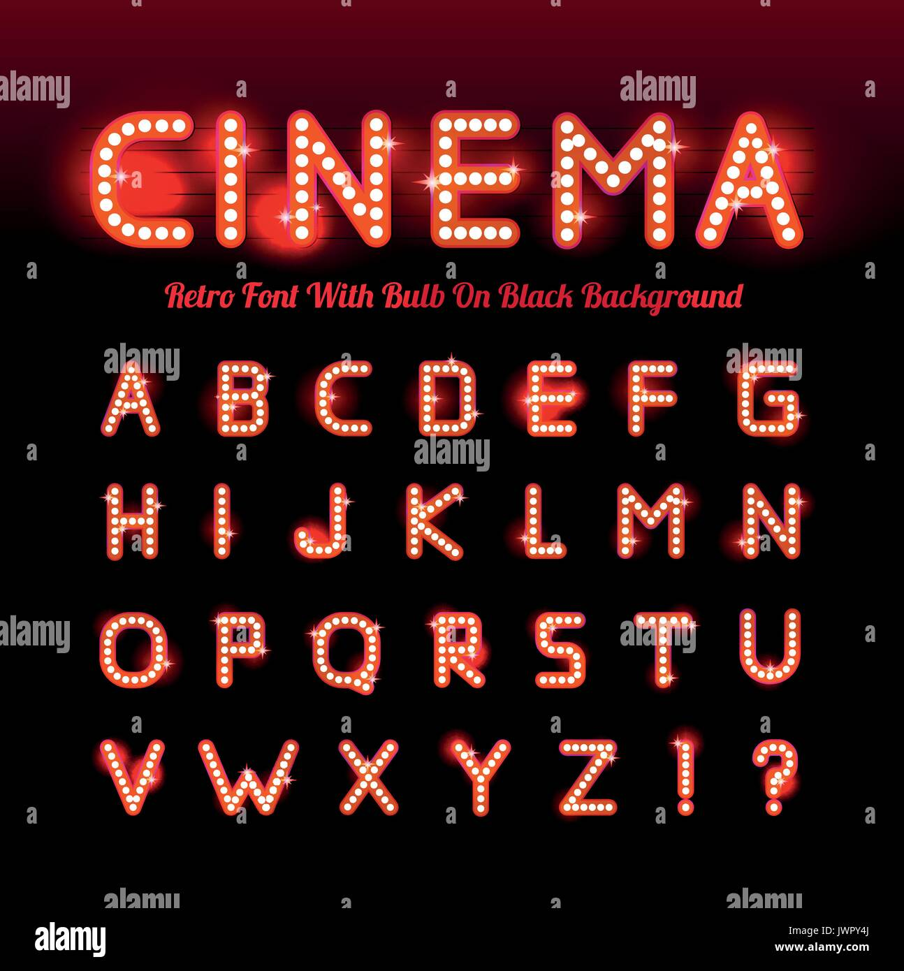 Retro Cinema Font Vector Illustration On Black Background Can Be Stock Vector Image Art Alamy