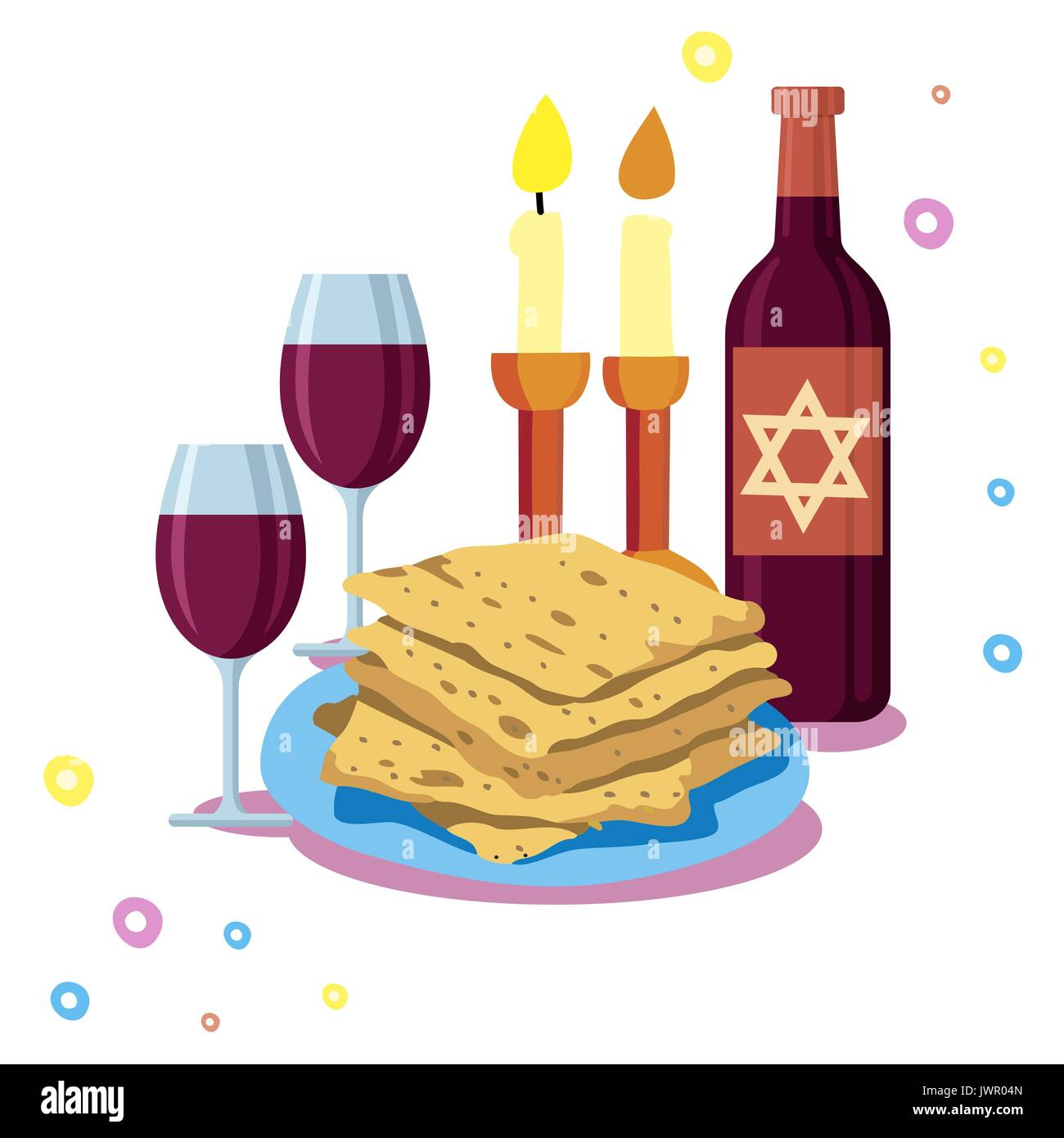 greeting card Shabbat shalom. Candles, cups and matzo. Jewish Holiday. - Stock Vector