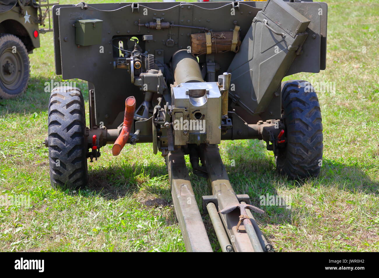 A beautifully restored 6 pounder 7 hundredweight 57 mm anti tank gun on display at Beltring in Kent at the 'war and Peace' show 2017. - Stock Image