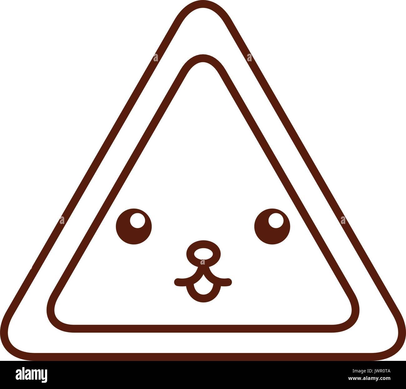 triangle signal kawaii character - Stock Image