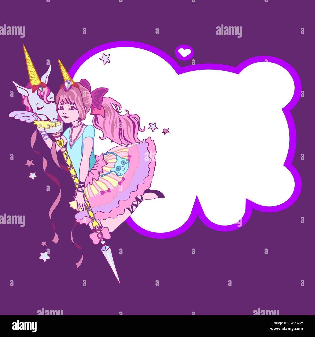 Cute Unicorn And Girl Stars And Frame In The Form Of A Cloud On A