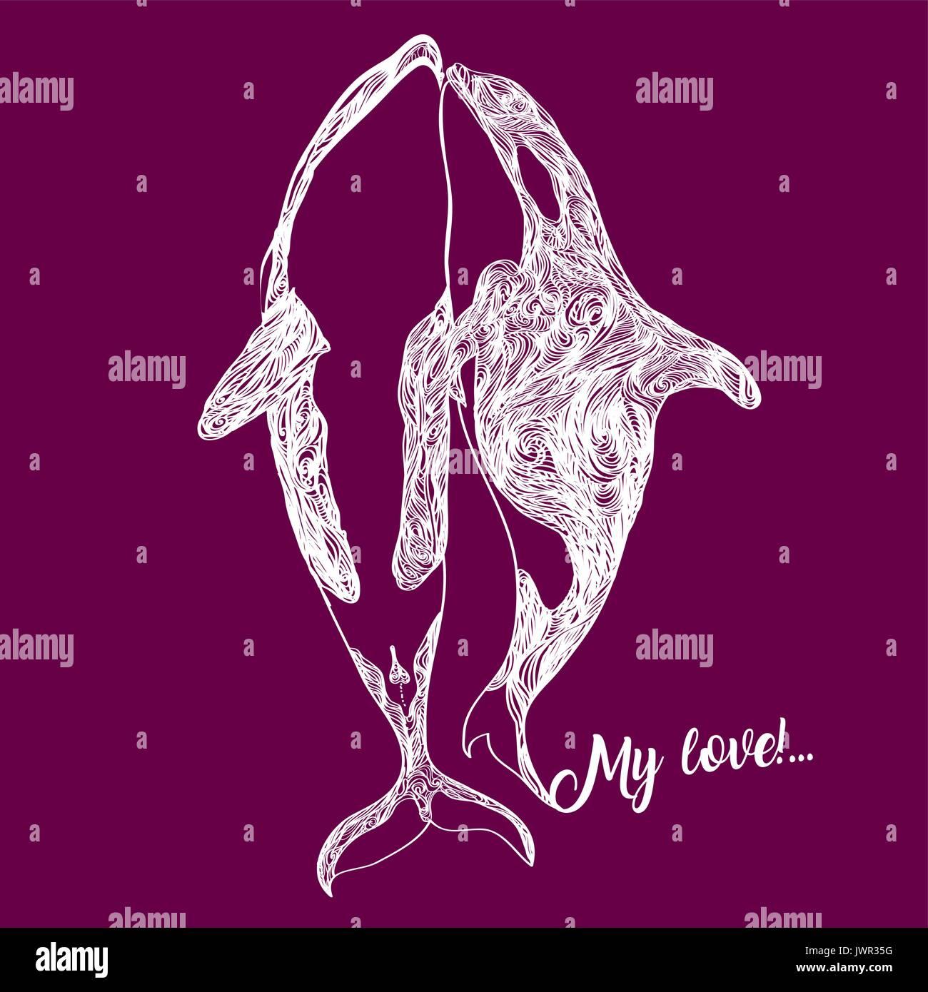 Orca killer whale, flat illustration. - Stock Vector