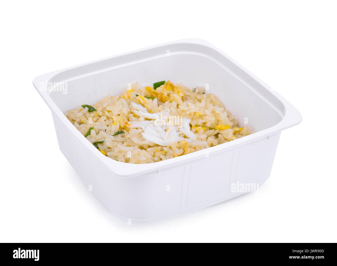 junk food, crab fried rice, in white plastic box isolated on white background - Stock Image