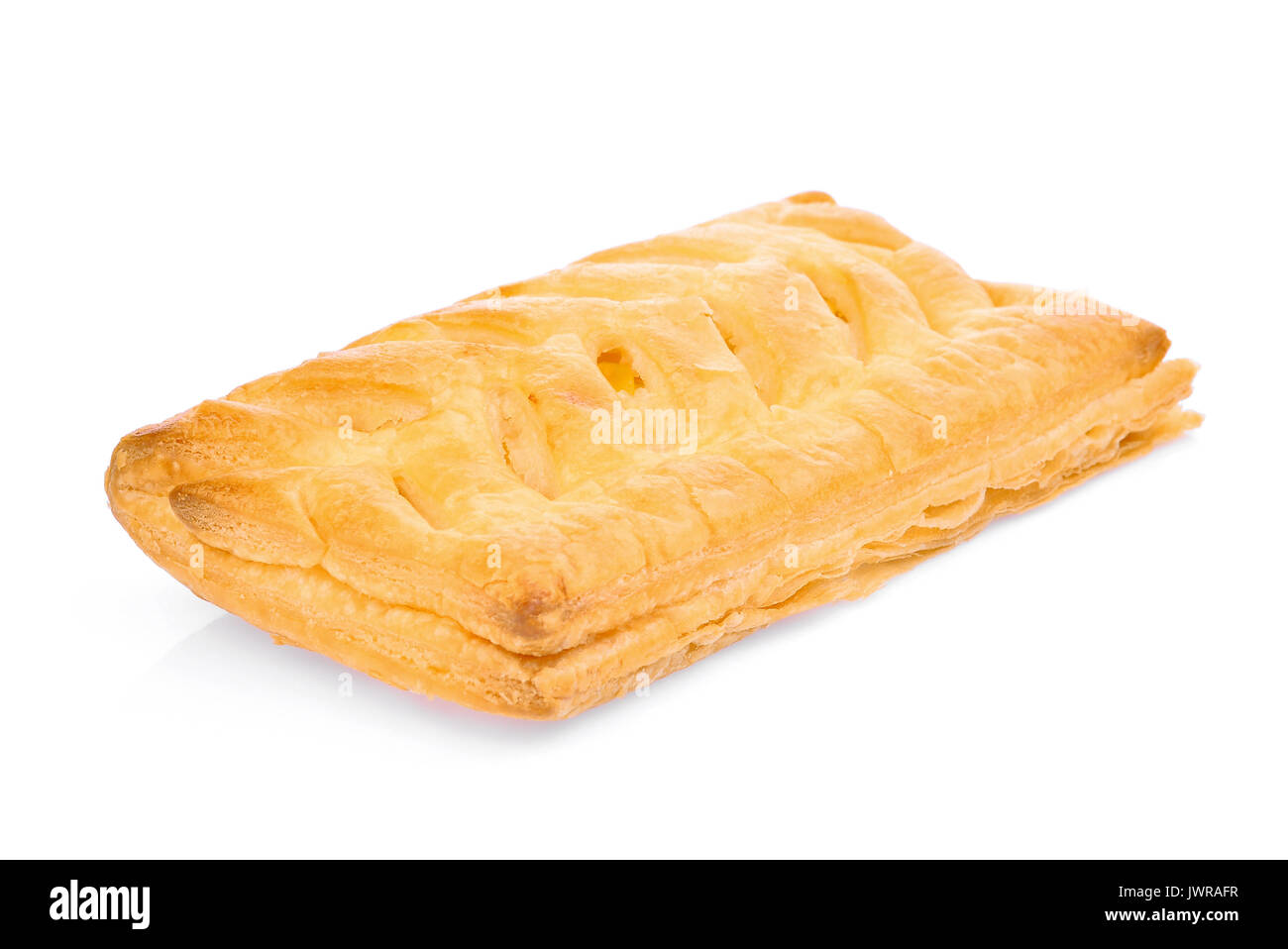 corn filled pie, fast food or junk food isolated on white background - Stock Image