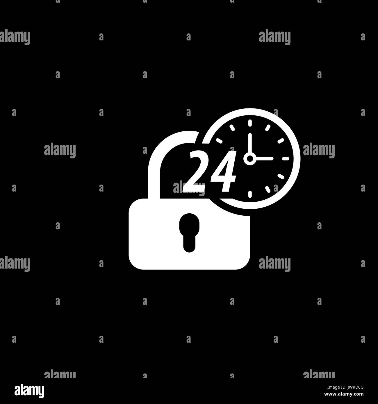 Secured 24-hour Icon. Flat Design. - Stock Image