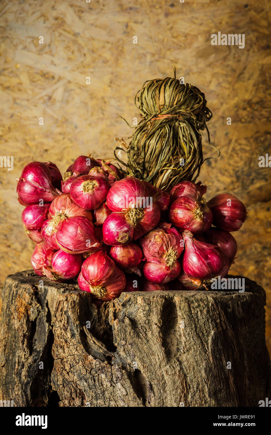 Shallots are raw materials for cooking and medicinal herbs. - Stock Image