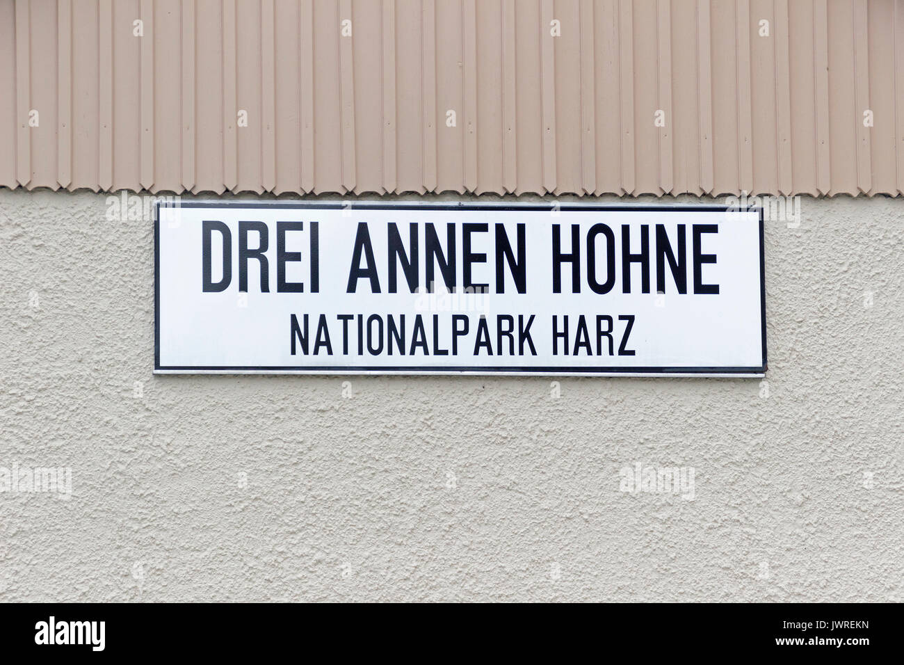 sign at train station Drei Annen Hohne, Harz-Mountains, Saxony-Anhalt, Germany - Stock Image