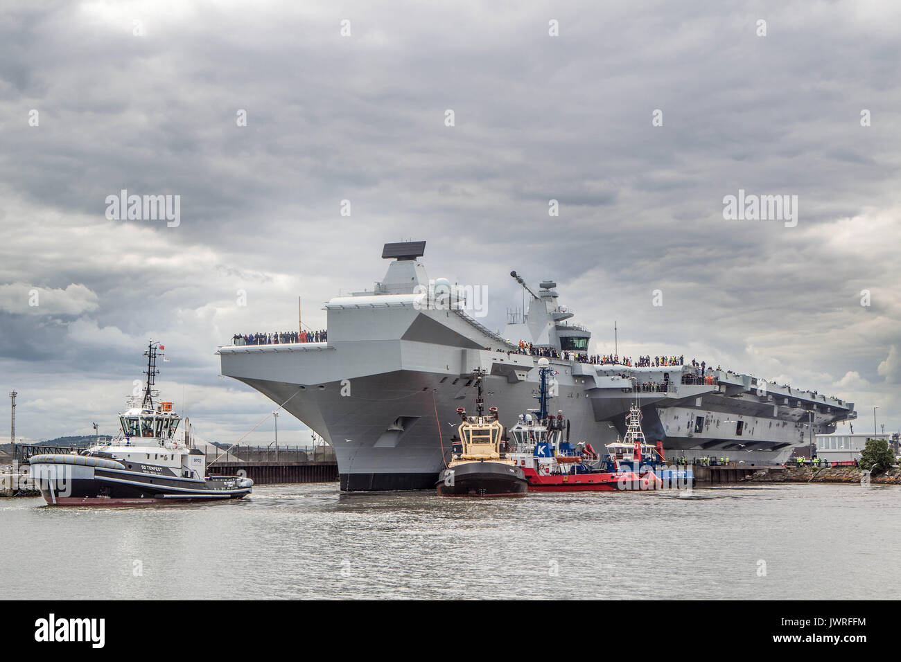 Aircraft Carrier Queen Elizabeth Launch - Stock Image