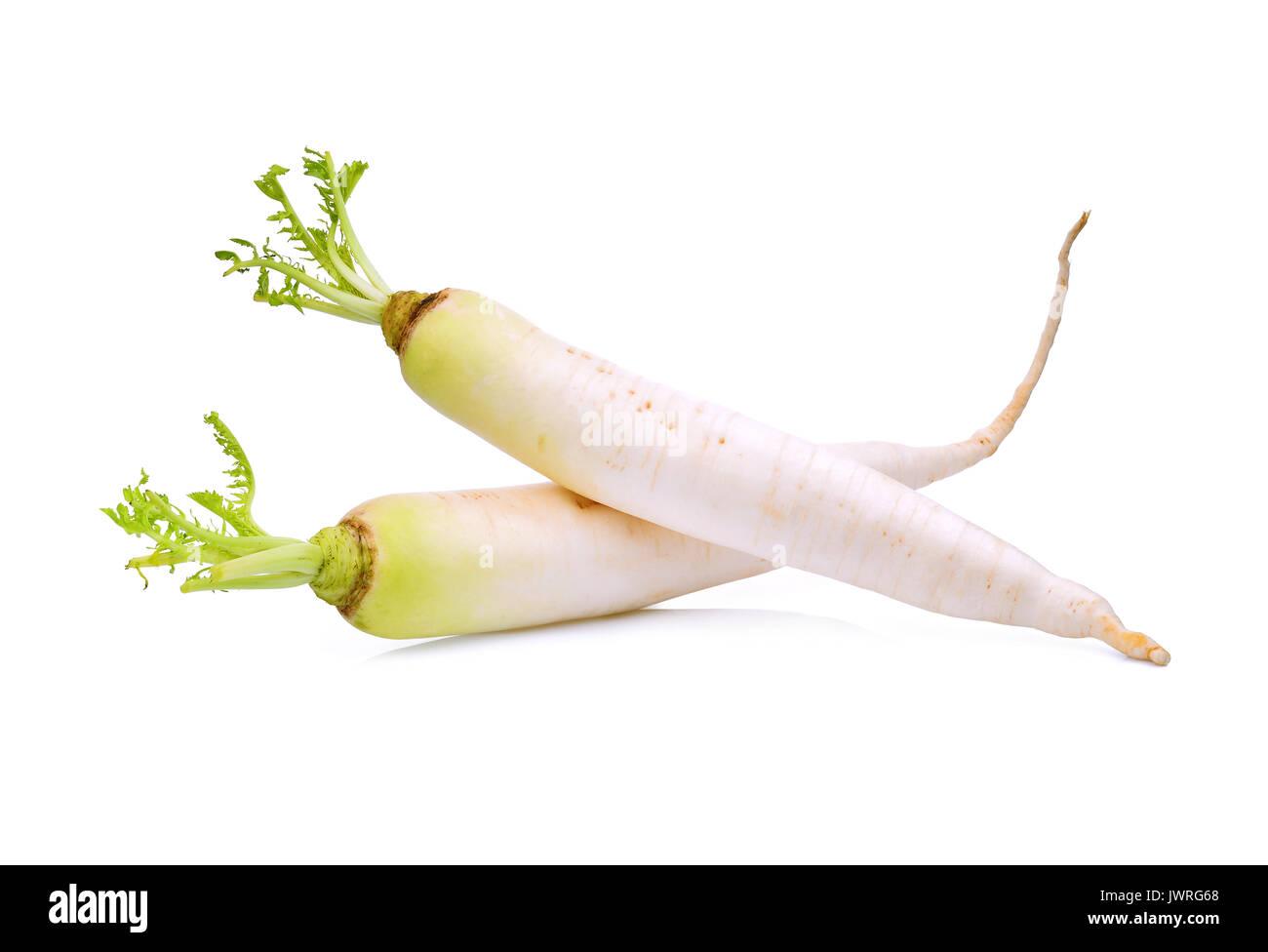 two fresh daikon radish isolated on the white background - Stock Image