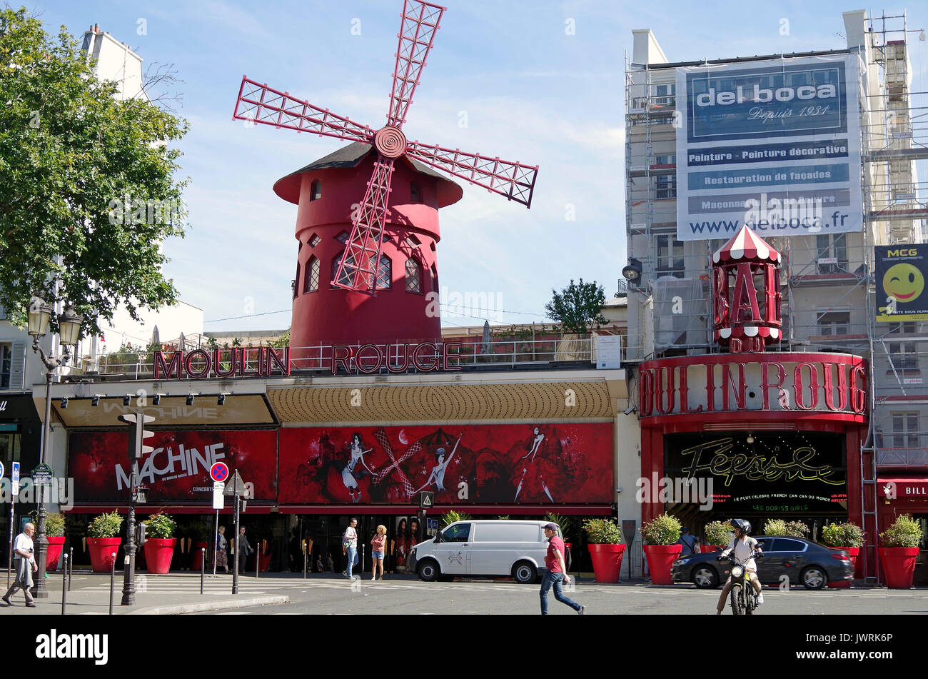Paris, France, Le Moulin Rouge, cabaret opened in 1889 and still running, though more of a tourist attraction today, Stock Photo