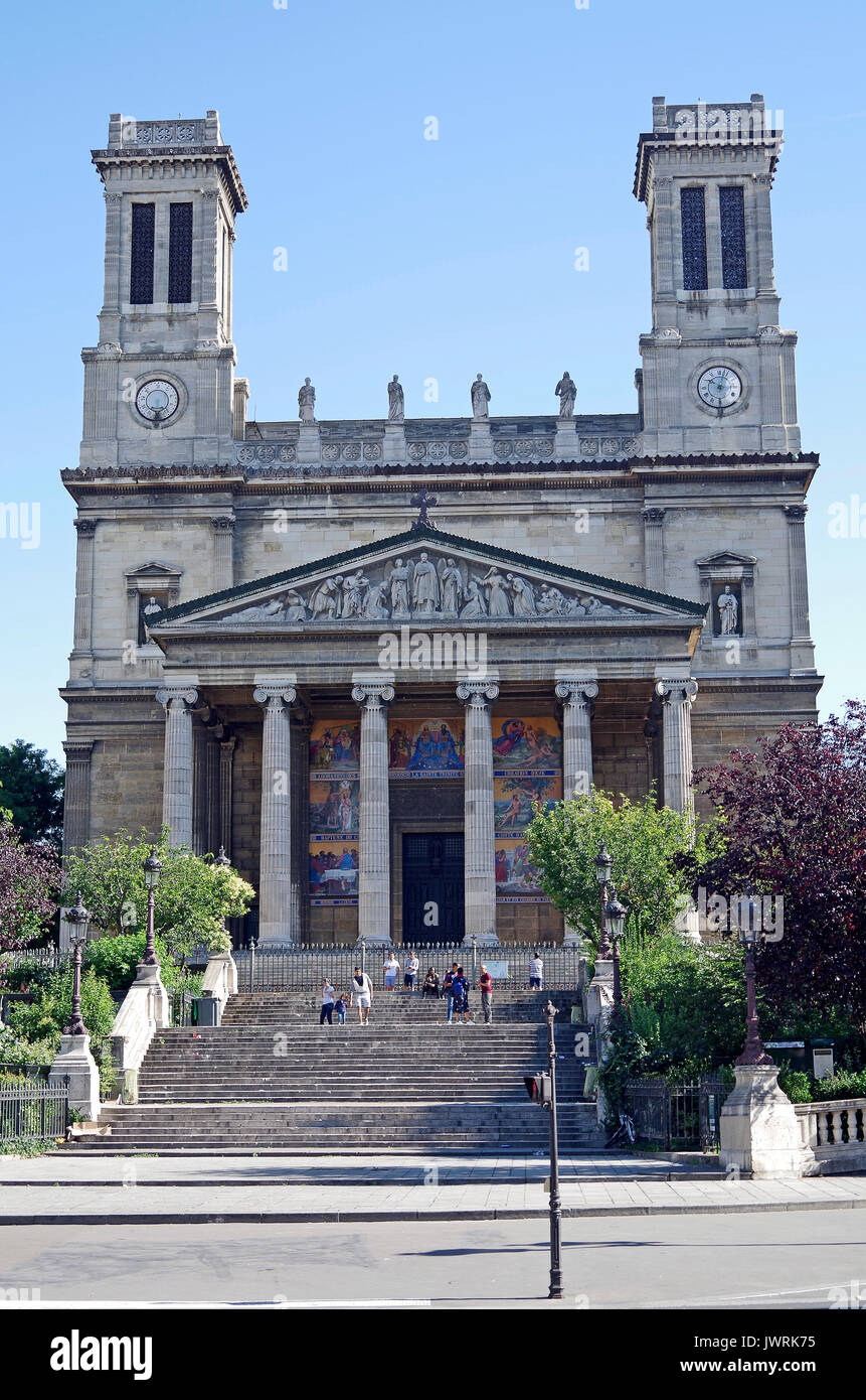 The church of St Vincent-de-Paul, Paris, France, in Greek Neo-classical style, - Stock Image