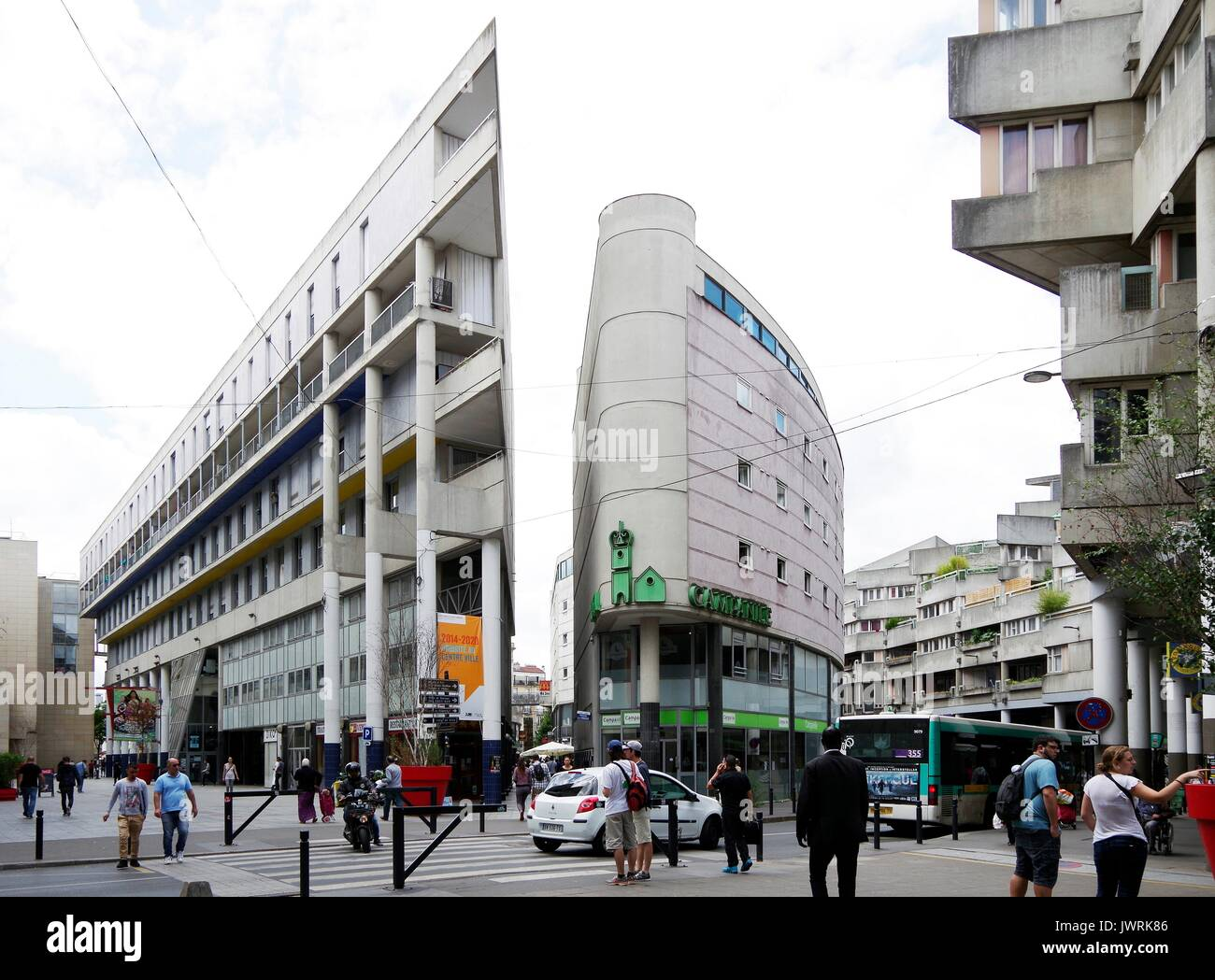 Centre Commercial, shopping area, and social housing, in the heart of St Denis, just north of , & contiguous with Paris, a bustling area - Stock Image